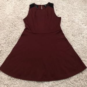 Burgundy/Wine Skater Dress